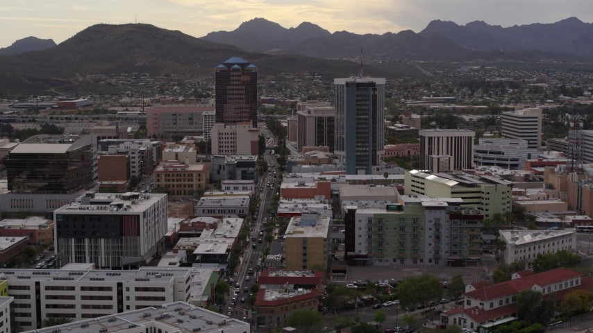 5.7K stock footage aerial video descend with view of Congress Street between office towers in Downtown Tucson, Arizona Aerial Stock Footage | DX0002_145_044