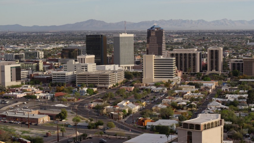 5.7K stock footage aerial video three office towers in the middle of Downtown Tucson, Arizona Aerial Stock Footage | DX0002_146_002