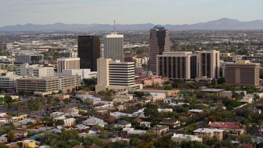5.7K stock footage aerial video three office towers and courthouse in Downtown Tucson, Arizona Aerial Stock Footage | DX0002_146_004