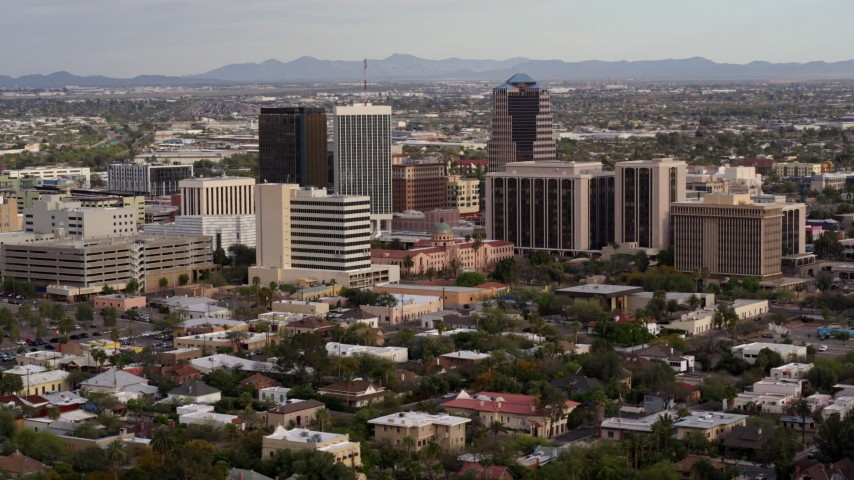 5.7K stock footage aerial video a view of three office towers near courthouse in Downtown Tucson, Arizona Aerial Stock Footage | DX0002_146_005