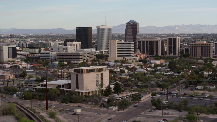 5.7K stock footage aerial video three office towers seen from near university office building in Downtown Tucson, Arizona Aerial Stock Footage | DX0002_146_006