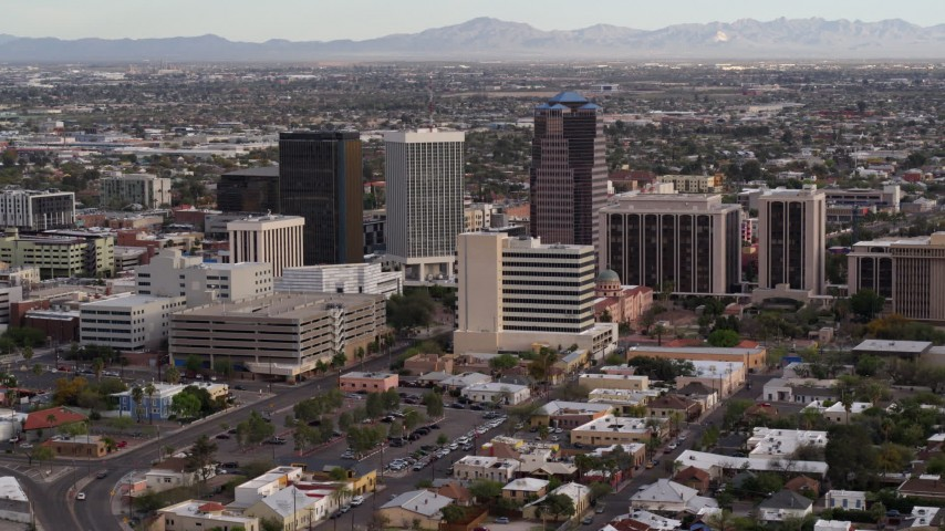5.7K stock footage aerial video slowly approach three office towers in Downtown Tucson, Arizona Aerial Stock Footage | DX0002_146_008