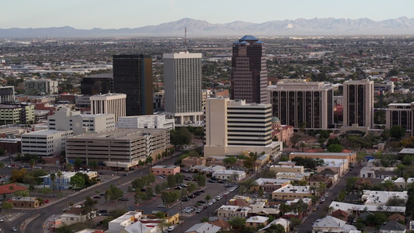 5.7K stock footage aerial video slowly fly away from three office towers in Downtown Tucson, Arizona Aerial Stock Footage | DX0002_146_009