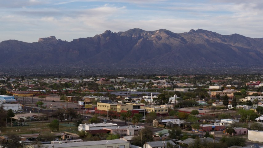 5.7K stock footage aerial video of a view of the Santa Catalina Mountains seen from Tucson, Arizona Aerial Stock Footage DX0002_146_012 | Axiom Images