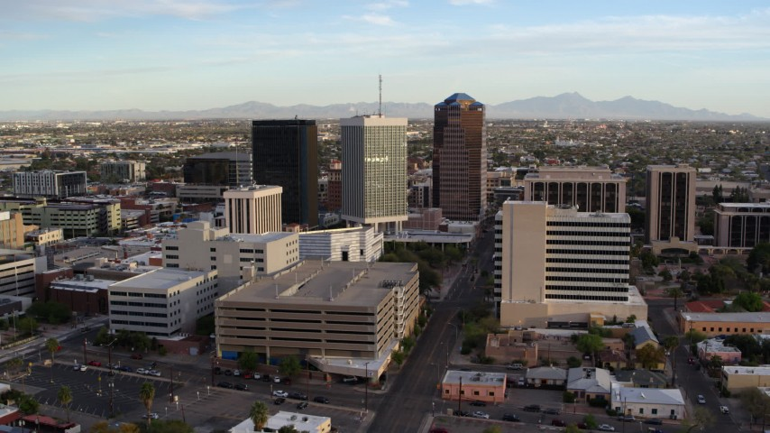 5.7K stock footage aerial video of an orbit of three office towers in Downtown Tucson, Arizona Aerial Stock Footage | DX0002_146_016