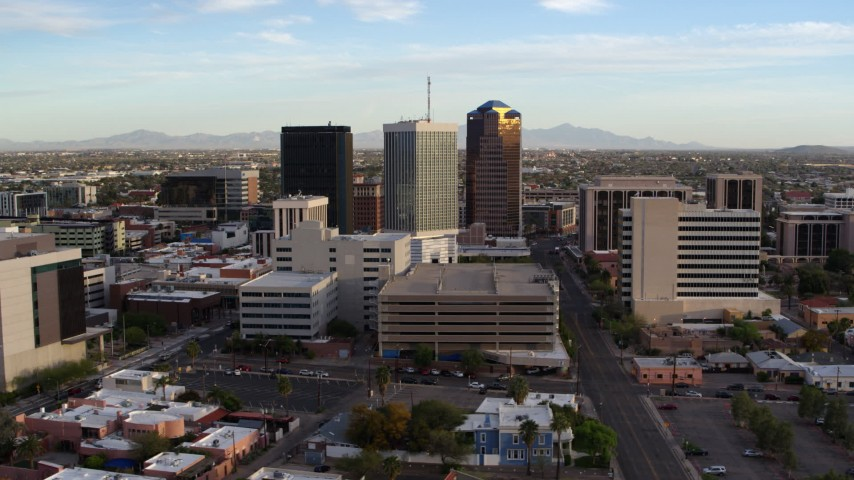 5.7K stock footage aerial video of orbiting three office towers in Downtown Tucson, Arizona Aerial Stock Footage DX0002_146_017