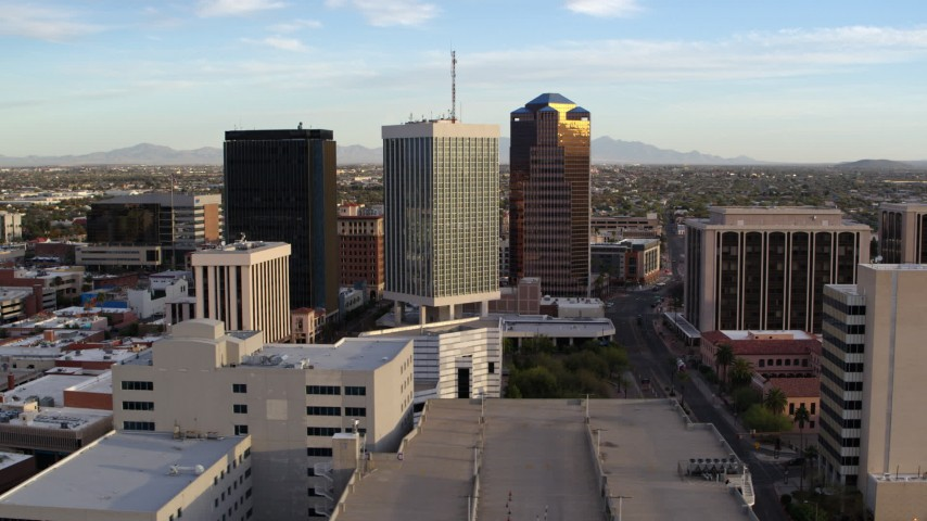 5.7K stock footage aerial video orbiting around three office towers in Downtown Tucson, Arizona Aerial Stock Footage | DX0002_146_018