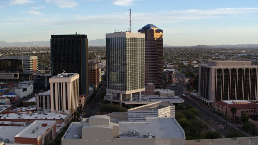 5.7K stock footage aerial video approach Bank of America Plaza office tower in Downtown Tucson, Arizona Aerial Stock Footage | DX0002_146_020