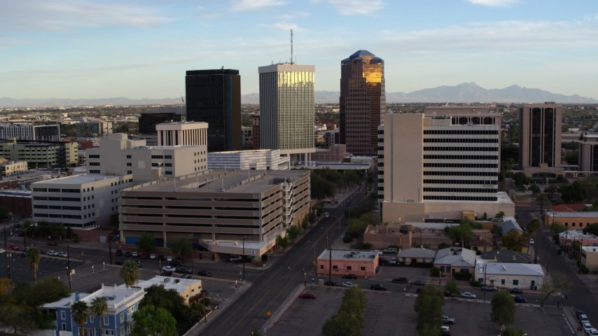 5.7K stock footage aerial video reverse view of Bank of America Plaza office tower in Downtown Tucson, Arizona Aerial Stock Footage | DX0002_146_022