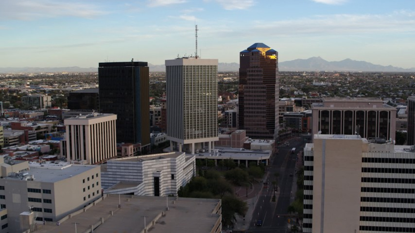 5.7K stock footage aerial video approach Bank of America Plaza office tower and ascend in Downtown Tucson, Arizona Aerial Stock Footage | DX0002_146_023