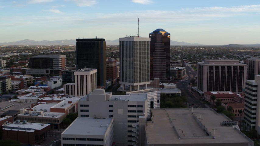5.7K stock footage aerial video orbit Bank of America Plaza and neighboring office towers in Downtown Tucson, Arizona Aerial Stock Footage | DX0002_146_025