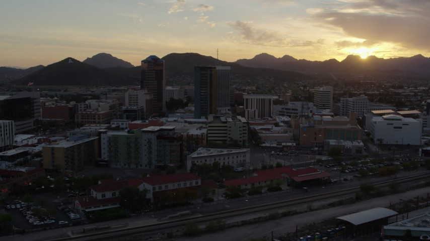 5.7K stock footage aerial video of three office towers at sunset in Downtown Tucson, Arizona Aerial Stock Footage | DX0002_146_027