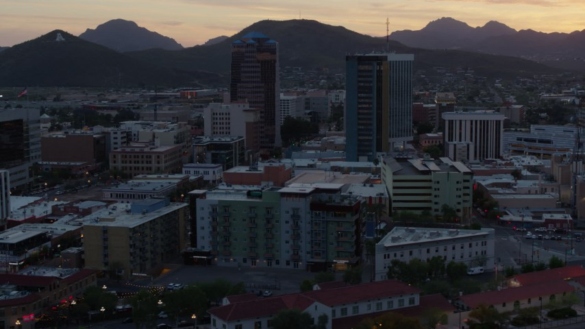 5.7K stock footage aerial video focus on high-rise office towers at sunset in Downtown Tucson, Arizona Aerial Stock Footage | DX0002_147_002