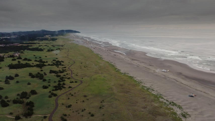 4K stock footage aerial video of flying away from beach-goers in Long Beach, Washington Aerial Stock Footage | DX0002_148_019