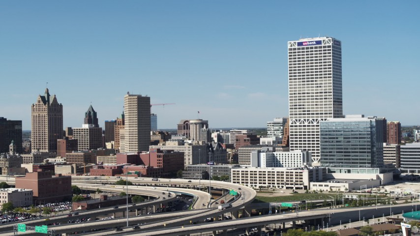 5.7K stock footage aerial video of a view of city buildings and skyscraper in Downtown Milwaukee, Wisconsin Aerial Stock Footage   DX0002_149_005