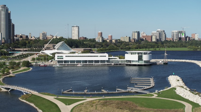 5.7K stock footage aerial video of Discovery World museum in Downtown Milwaukee, Wisconsin Aerial Stock Footage | DX0002_149_009