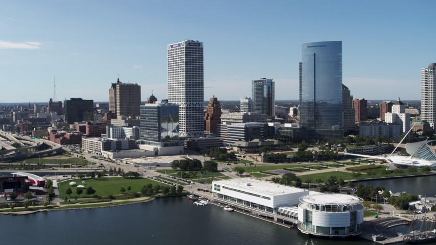 5.7K stock footage aerial video of city buildings near the waterfront museum in Downtown Milwaukee, Wisconsin Aerial Stock Footage | DX0002_149_021
