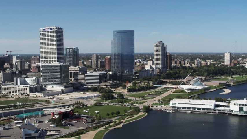 5.7K stock footage aerial video of the city's skyscrapers in Downtown Milwaukee, Wisconsin Aerial Stock Footage | DX0002_149_036