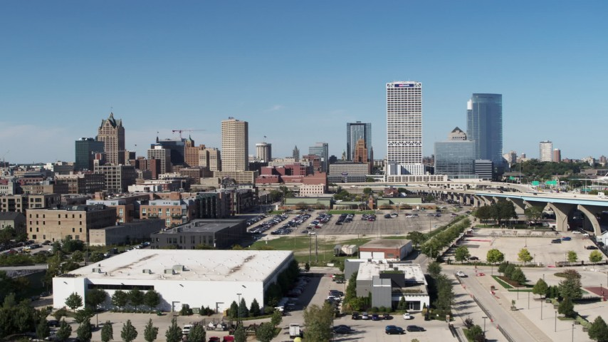 5.7K stock footage aerial video of the city's skyline in Downtown Milwaukee, Wisconsin Aerial Stock Footage   DX0002_149_037