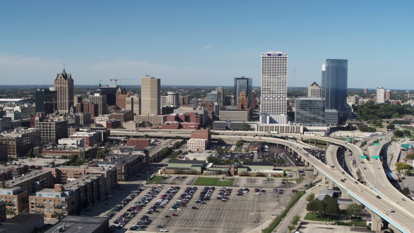 5.7K stock footage aerial video of flying away from the city's skyline in Downtown Milwaukee, Wisconsin Aerial Stock Footage | DX0002_149_040