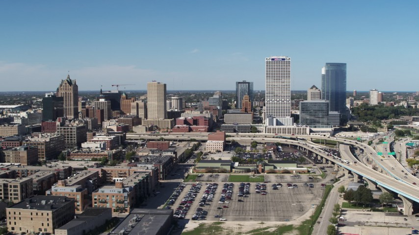 5.7K stock footage aerial video of flying by the city's skyline and I-794 in Downtown Milwaukee, Wisconsin Aerial Stock Footage | DX0002_149_041