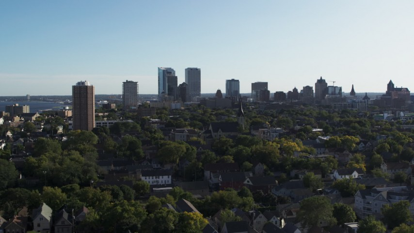 5.7K stock footage aerial video of a wide view of the city's skyline in Downtown Milwaukee, Wisconsin Aerial Stock Footage | DX0002_150_001