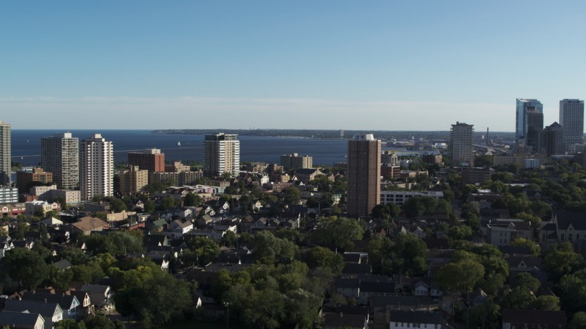 5.7K stock footage aerial video of a wide view of a high-rise apartment complex in Downtown Milwaukee, Wisconsin Aerial Stock Footage | DX0002_150_003
