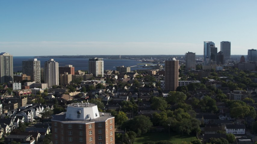 5.7K stock footage aerial video of a wide view of a high-rise apartment complex, reveal Downtown Milwaukee, Wisconsin Aerial Stock Footage | DX0002_150_004