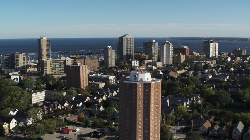 5.7K stock footage aerial video of apartment complexes in Milwaukee, Wisconsin Aerial Stock Footage | DX0002_150_005