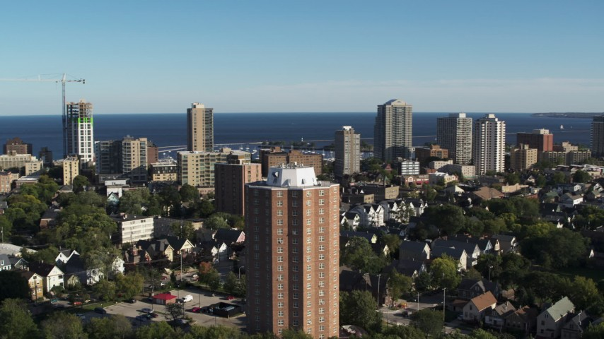 5.7K stock footage aerial video of orbiting an apartment complex in Milwaukee, Wisconsin Aerial Stock Footage | DX0002_150_006