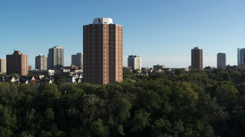 5.7K stock footage aerial video of an apartment complex during descent in Milwaukee, Wisconsin Aerial Stock Footage | DX0002_150_009