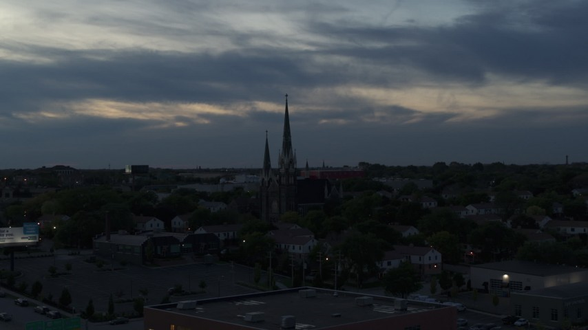 5.7K stock footage aerial video of church steeples at twilight, Milwaukee, Wisconsin Aerial Stock Footage | DX0002_150_034