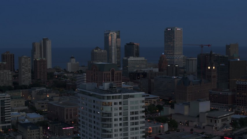 5.7K stock footage aerial video a view of Downtown Milwaukee, Wisconsin at twilight Aerial Stock Footage | DX0002_150_037