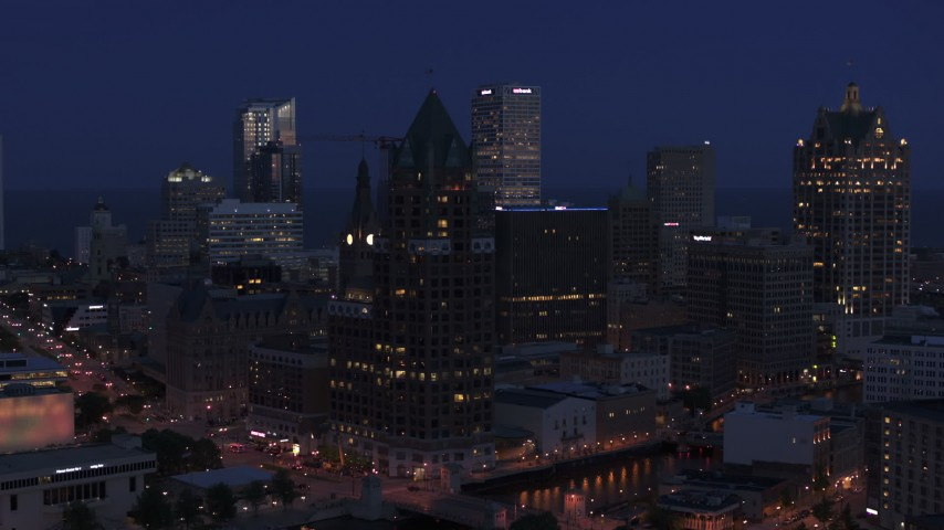 5.7K stock footage aerial video of a riverfront office tower at night, Downtown Milwaukee, Wisconsin Aerial Stock Footage | DX0002_151_002