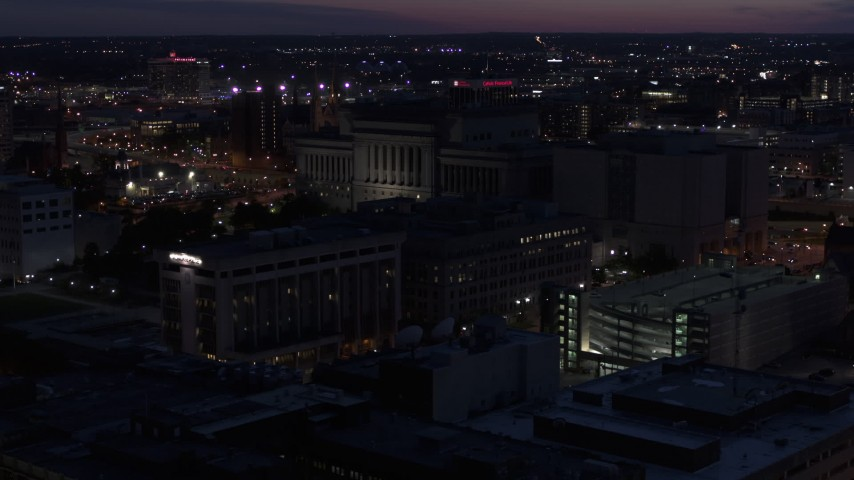5.7K stock footage aerial video of the Milwaukee County Circuit Court at night, Milwaukee, Wisconsin Aerial Stock Footage | DX0002_151_010
