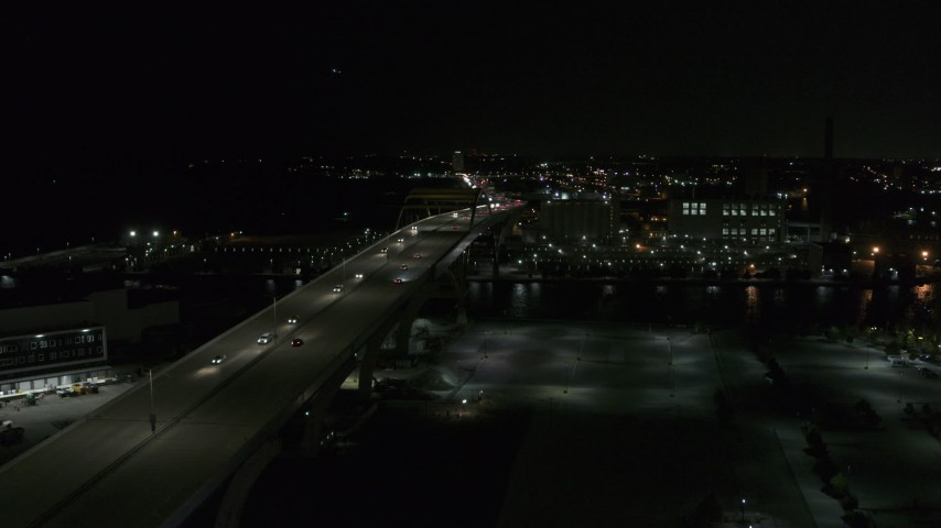5.7K stock footage aerial video of light traffic on I-794 freeway at night, Downtown Milwaukee, Wisconsin Aerial Stock Footage   DX0002_151_033