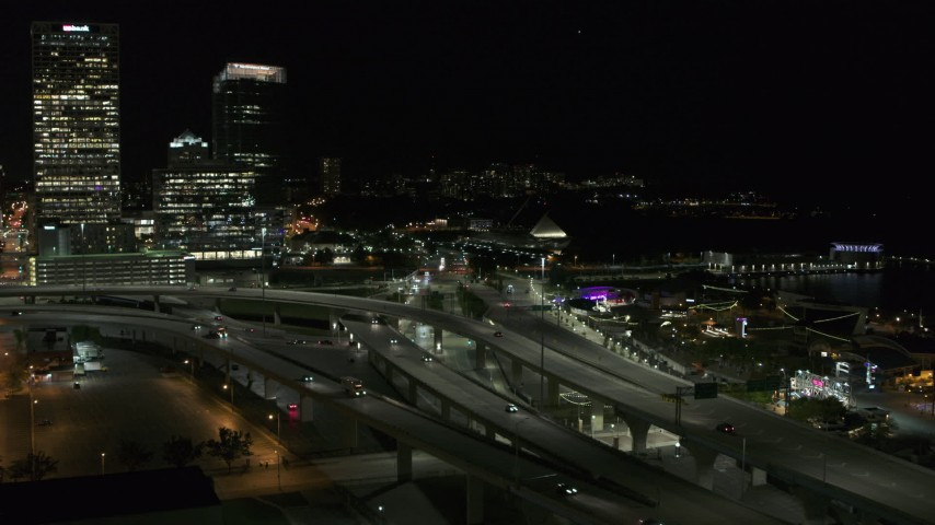 5.7K stock footage aerial video of light traffic on I-794 freeway interchange at night, Downtown Milwaukee, Wisconsin Aerial Stock Footage | DX0002_151_034