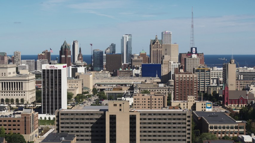 5.7K stock footage aerial video of a wide view of the city's skyline in Downtown Milwaukee, Wisconsin Aerial Stock Footage | DX0002_152_001