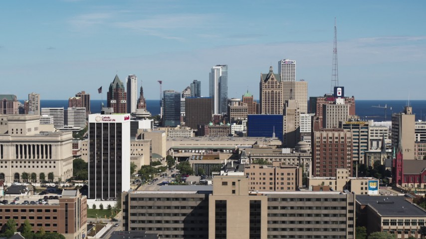 5.7K stock footage aerial video of the city's skyline in Downtown Milwaukee, Wisconsin seen from the university Aerial Stock Footage | DX0002_152_003
