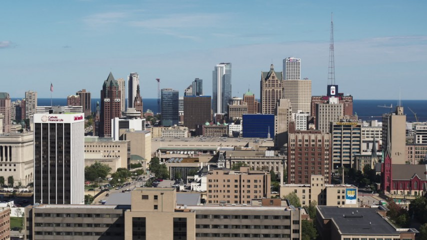 5.7K stock footage aerial video of the Downtown Milwaukee, Wisconsin skyline seen from the university Aerial Stock Footage | DX0002_152_004