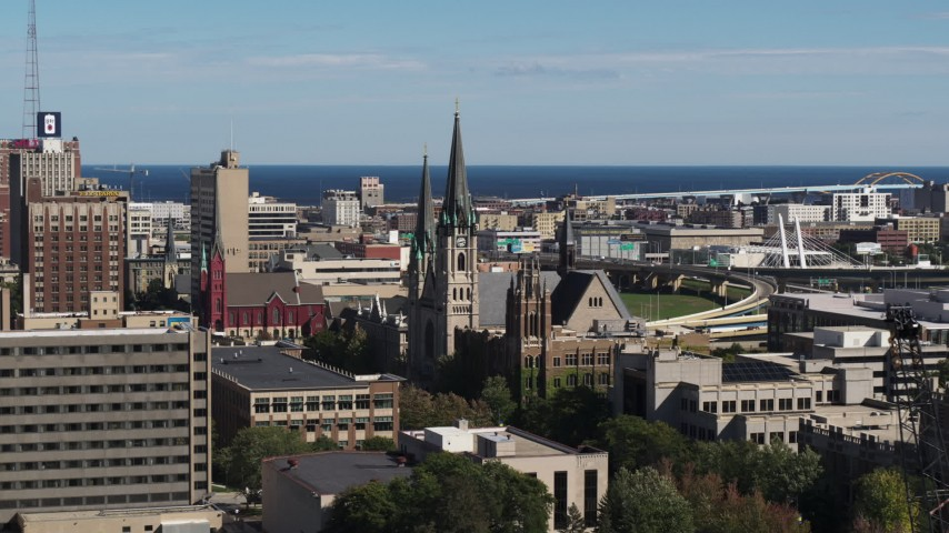 5.7K stock footage aerial video of the Church of the Gesu in Downtown Milwaukee, Wisconsin Aerial Stock Footage | DX0002_152_011