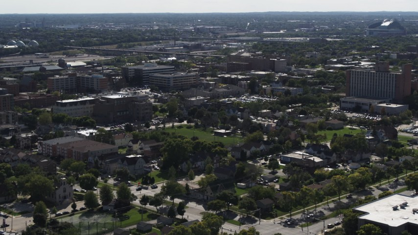 5.7K stock footage aerial video of apartment buildings around Norris Park in Milwaukee, Wisconsin Aerial Stock Footage | DX0002_152_024