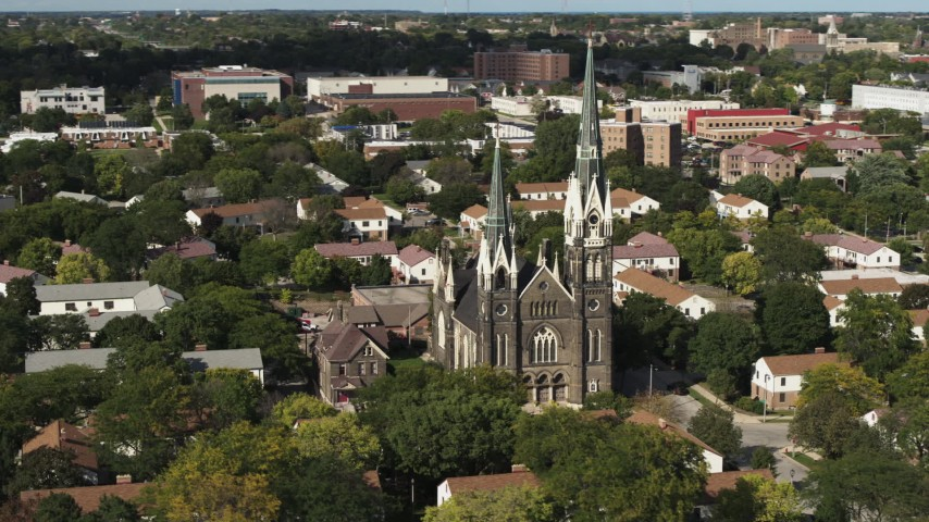 5.7K stock footage aerial video of circling a church in Milwaukee, Wisconsin Aerial Stock Footage | DX0002_152_040