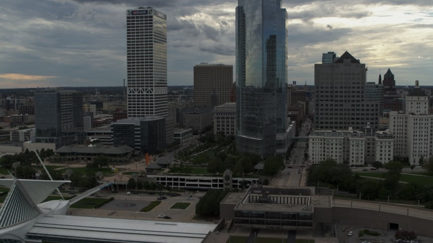 5.7K stock footage aerial video of flying by tall skyscrapers in Downtown Milwaukee, Wisconsin Aerial Stock Footage   DX0002_154_019