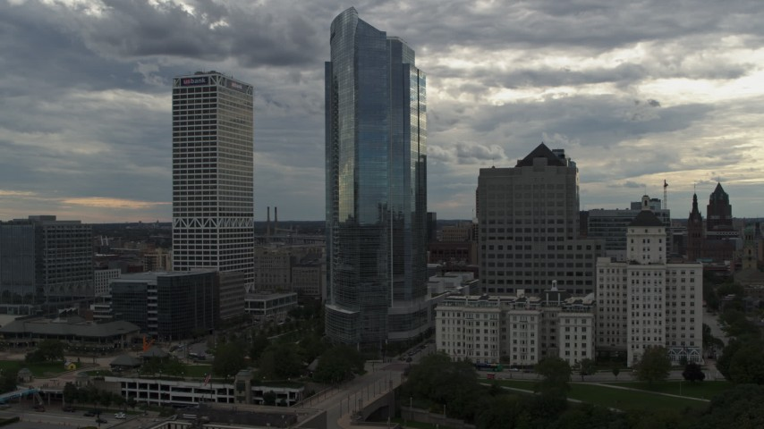 5.7K stock footage aerial video of a view of tall skyscrapers, Downtown Milwaukee, Wisconsin Aerial Stock Footage | DX0002_154_025