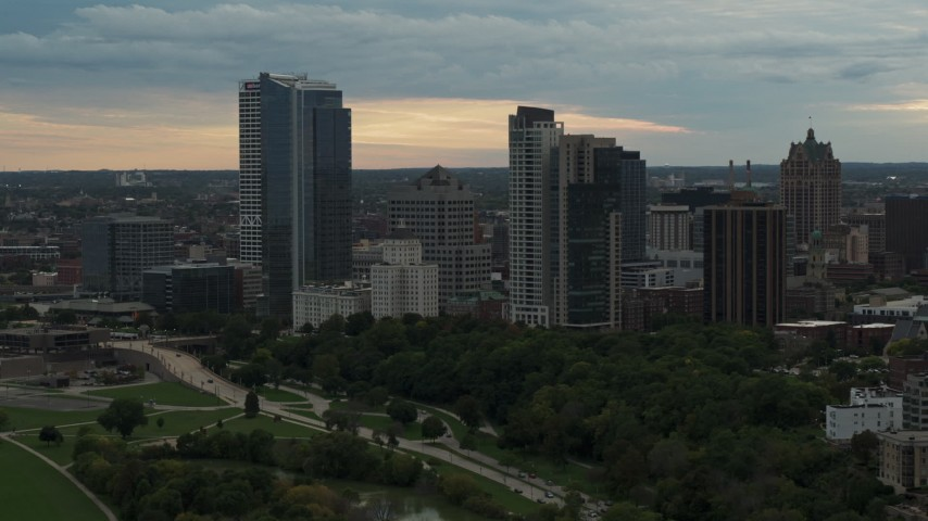 5.7K stock footage aerial video a view of the city's skyline at sunset, Downtown Milwaukee, Wisconsin Aerial Stock Footage | DX0002_155_009