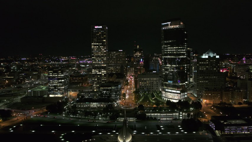 5.7K stock footage aerial video of tall skyscrapers at night, Downtown Milwaukee, Wisconsin Aerial Stock Footage | DX0002_157_001