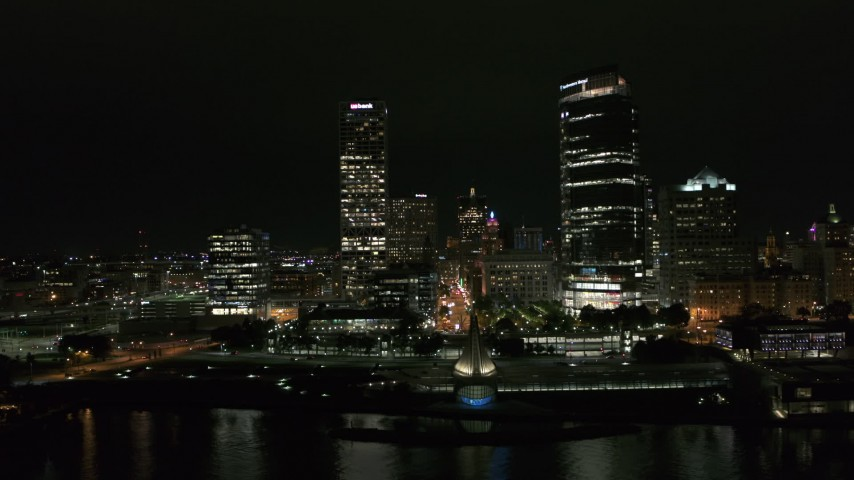 5.7K stock footage aerial video approach and flyby towering skyscrapers at night, Downtown Milwaukee, Wisconsin Aerial Stock Footage | DX0002_157_008