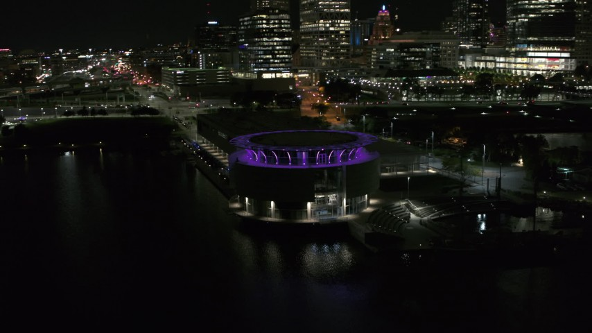 5.7K stock footage aerial video orbiting Discovery World museum at night, Downtown Milwaukee, Wisconsin Aerial Stock Footage | DX0002_157_009