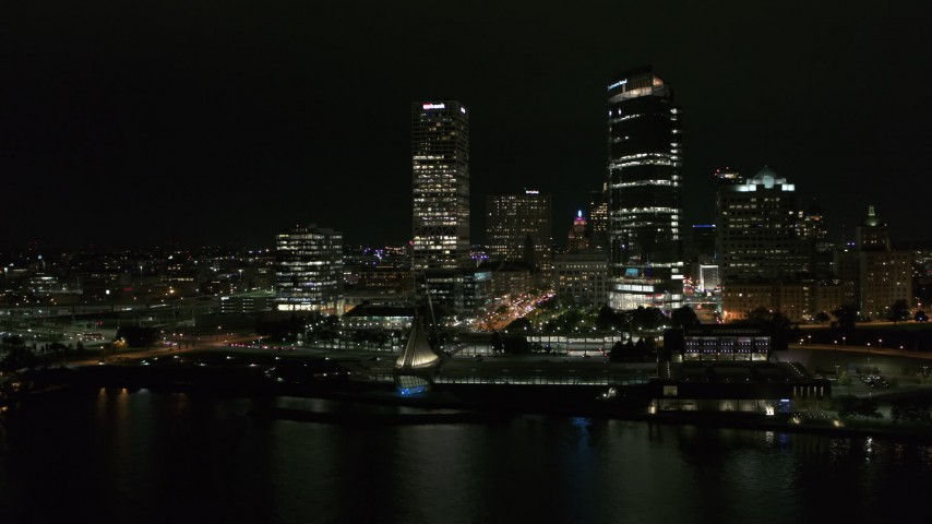 5.7K stock footage aerial video orbiting museum and skyscrapers at night, Downtown Milwaukee, Wisconsin Aerial Stock Footage | DX0002_157_013